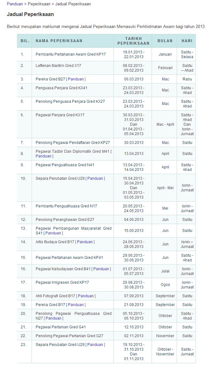 Jadual Peperiksaan SPA 2013