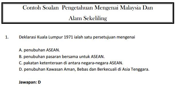 Contoh Soalan Pengetahuan Mengenai Malaysia Dan  Alam Sekeliling