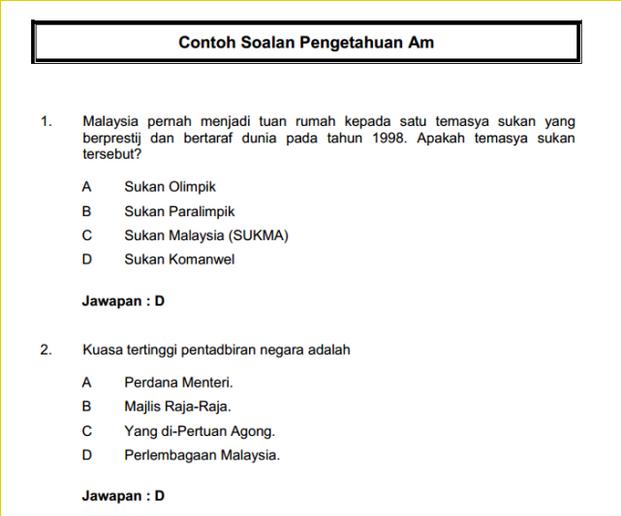 Contoh Soalan Peperiksaan Penolong Pegawai Belia dan Sukan S29
