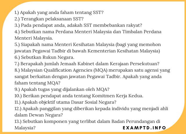 Rujukan Contoh Soalan Temuduga Pegawai Tadbir N41 Terkini