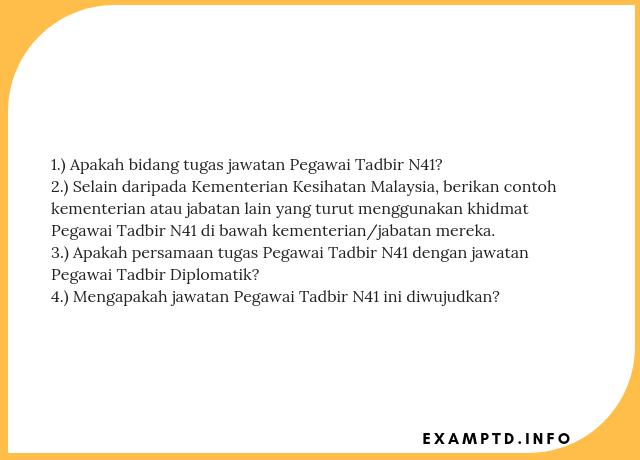 Soalan Temuduga Pegawai Tadbir N41